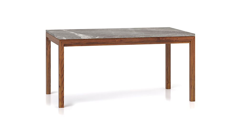 Parsons Grey Marble Top/ Elm Base 72x42 Dining Table