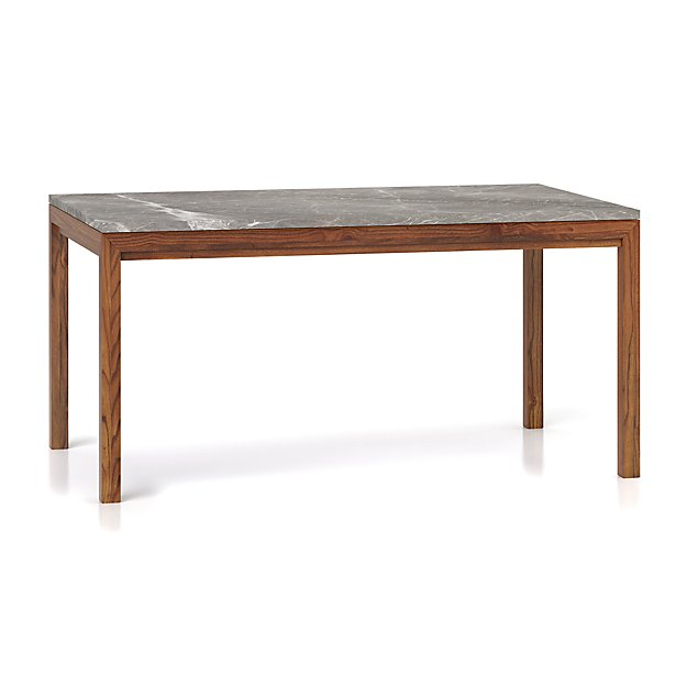 Parsons Grey Marble Top/ Elm Base 60x36 Dining Table - Image 1 of 5