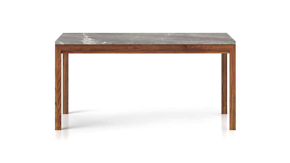 Parsons Grey Marble Top/ Elm Base 60x36 Dining Table