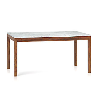 Parsons White Marble Top Elm Base 60x36 Dining Table