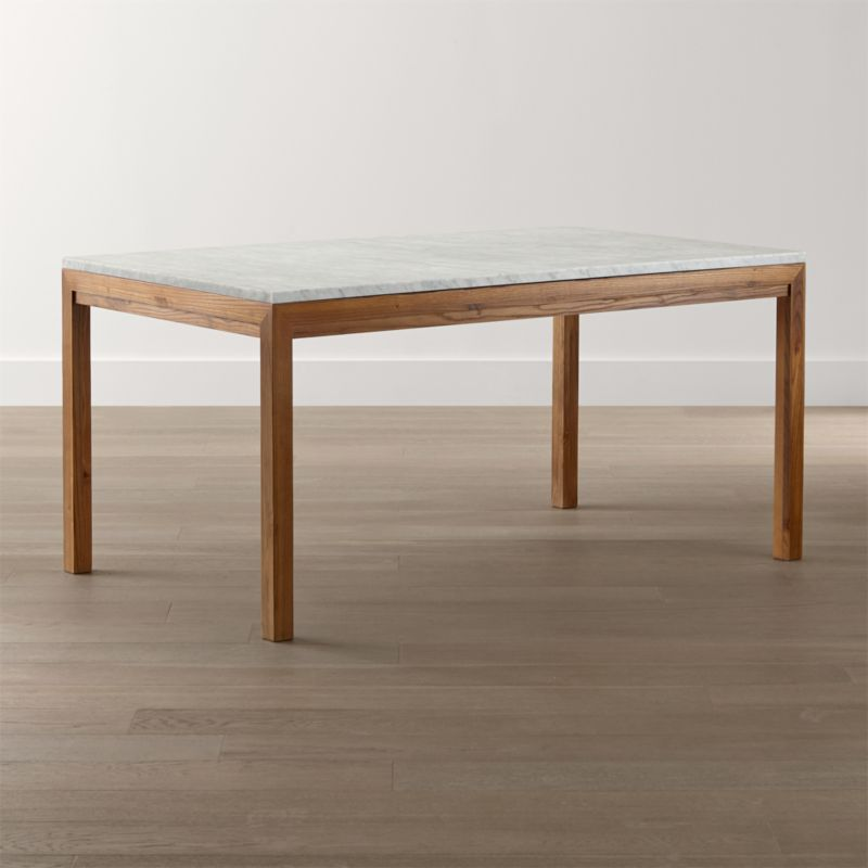 Parsons White Marble Top Elm Base Dining Tables Crate And Barrel - Marble top circle dining table
