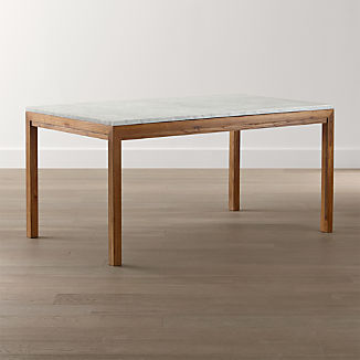 Parsons White Marble Top/ Elm Base Dining Tables