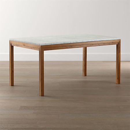 Parsons White Marble Top Elm Base Dining Tables