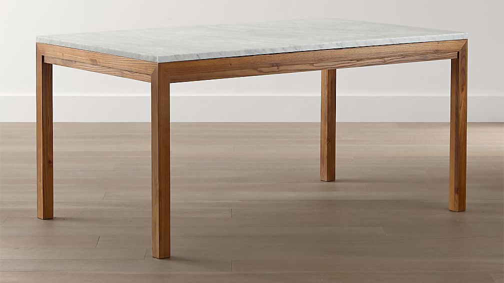 Parsons White Marble Top/ Elm Base Dining Tables - Image 1 of 6