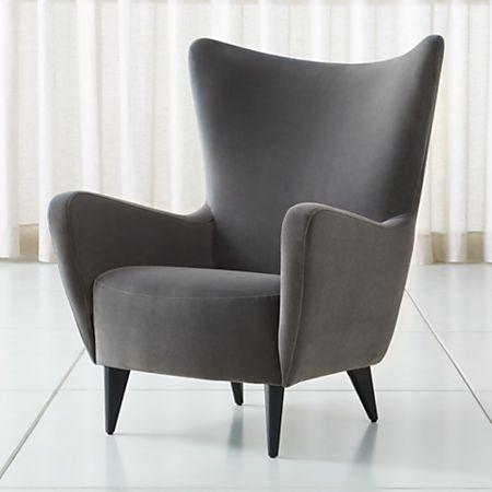Elsa Grey Velvet Wingback Chair