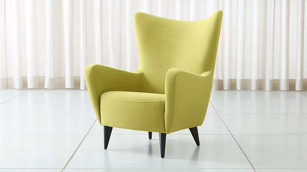 Elsa Lime Green Velvet Wingback Chair - Image 1 of 6