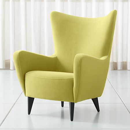 Admirable Elsa Lime Green Velvet Wingback Chair Caraccident5 Cool Chair Designs And Ideas Caraccident5Info
