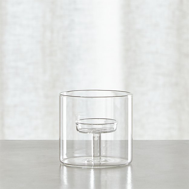 Elsa Small Glass Tea Light Candle Holder Crate And Barrel
