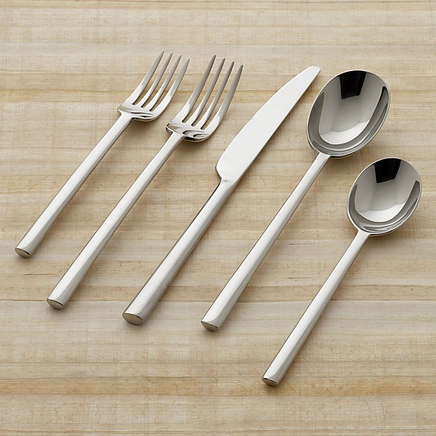 Emerge mirror 5 piece flatware place setting crate and for Modern place settings
