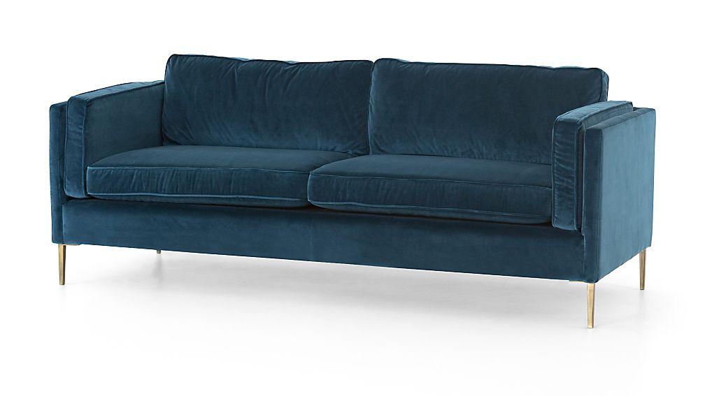 Sofa Velvet Blue Velvet Sofa With Nailheads Thesofa