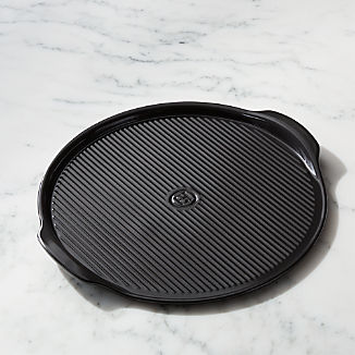 Emile Henry Black Ribbed Pizza Stone