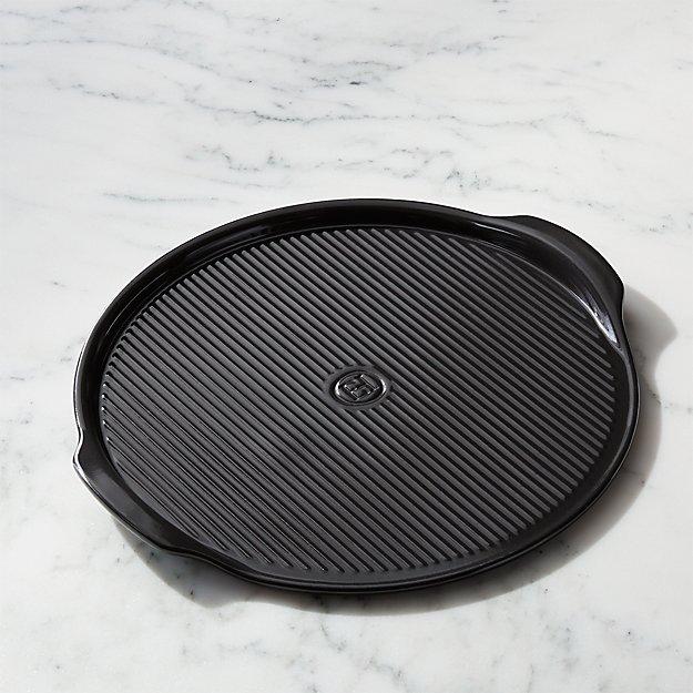 Emile Henry Black Ribbed Pizza Stone - Image 1 of 5