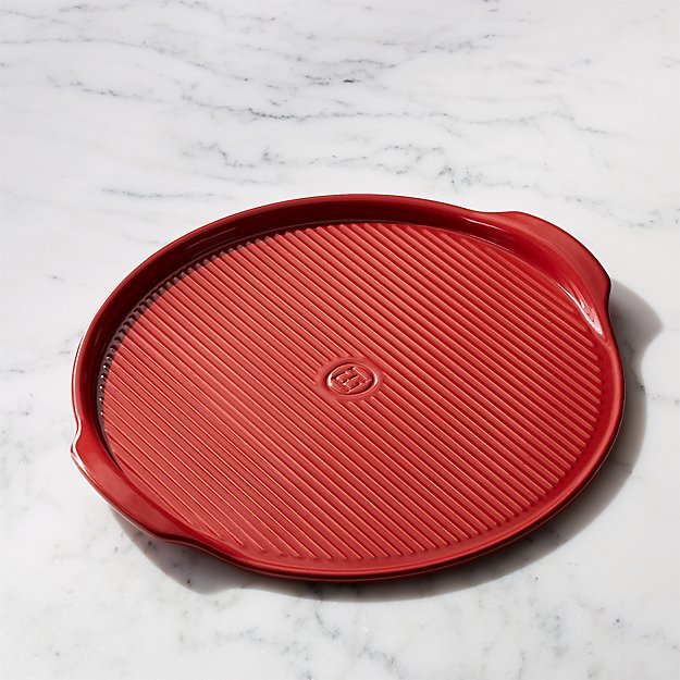 Emile Henry Red Ribbed Pizza Stone - Image 1 of 4
