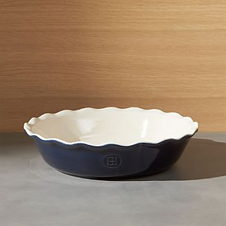 Emile Henry Modern Classic Twilight Blue Pie Dish & Pie Plates | Crate and Barrel