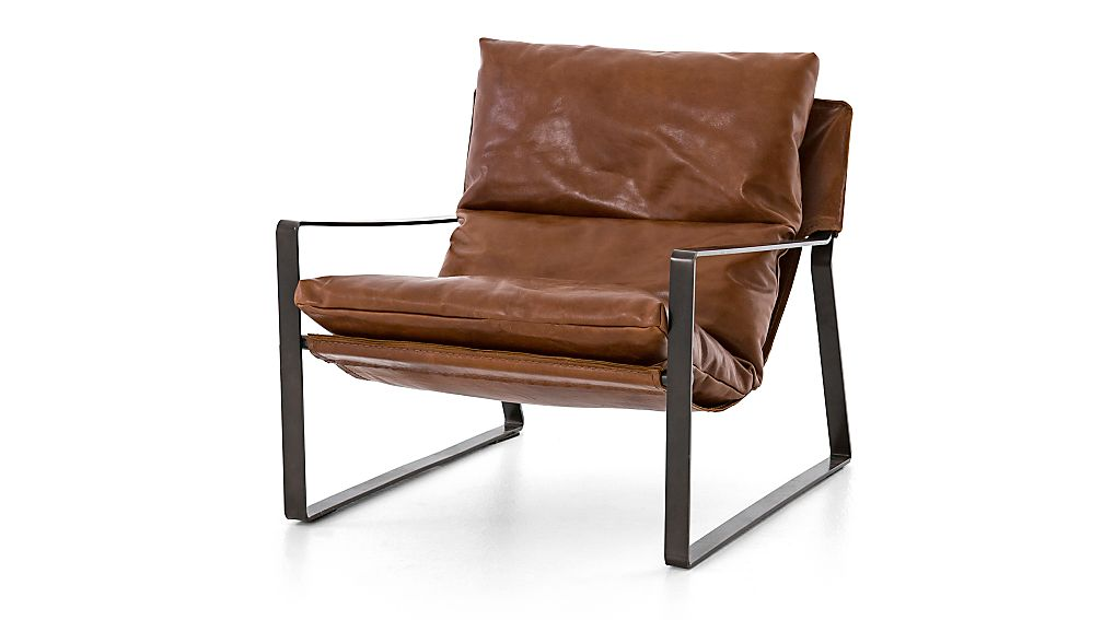 Emmett Leather Sling Chair + Reviews | Crate and Barrel