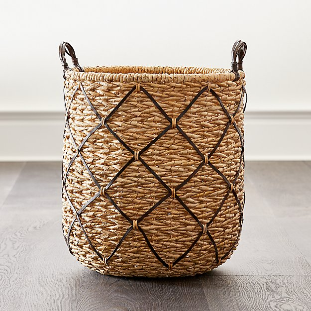 Emory Large Brown Leather-Handle Basket - Image 1 of 7
