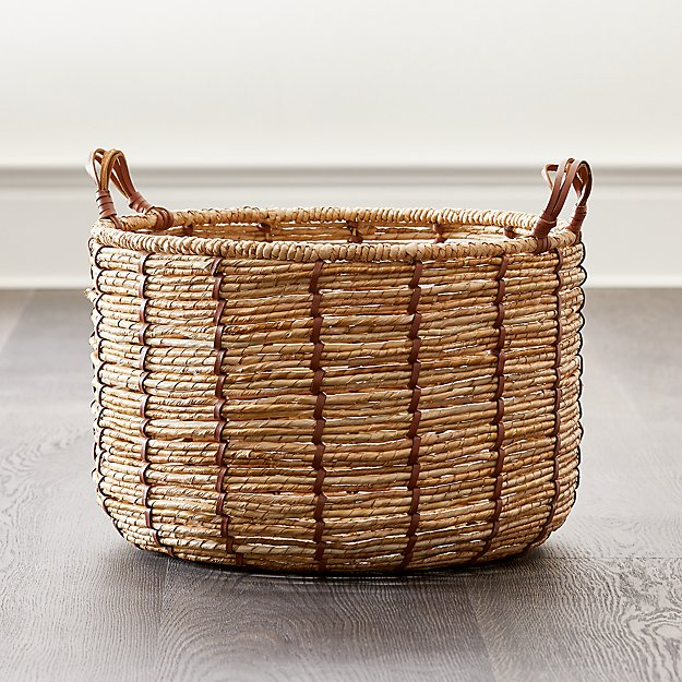 Emory Small Cognac Leather Handle Basket - Image 1 of 5