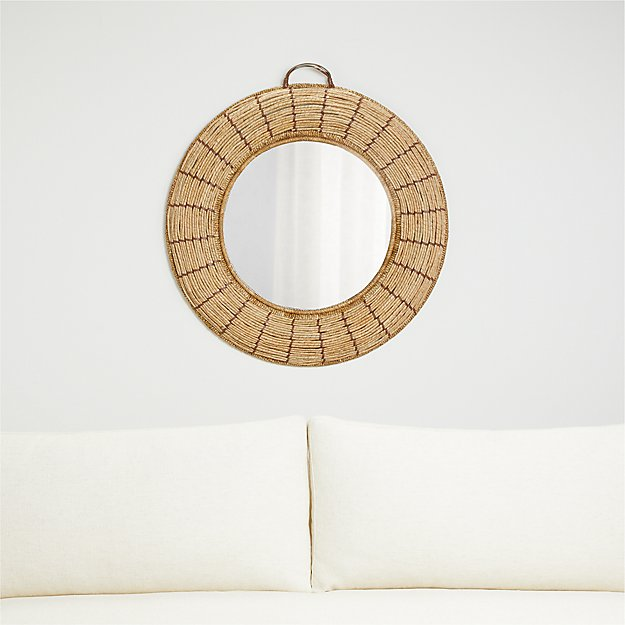 Emory Round Woven Mirror - Image 1 of 3