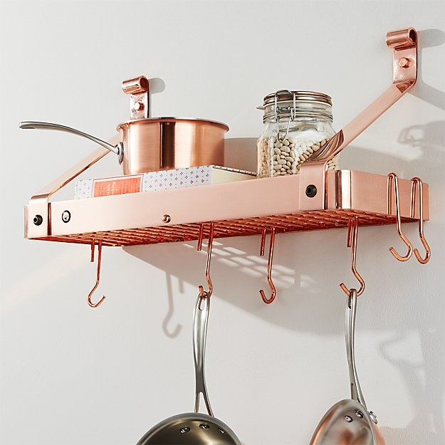 Enclume Copper Bookshelf Pot Rack Reviews Crate And Barrel