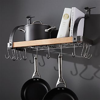 Enclume ® Steel And Wood Bookshelf Wall Pot Rack