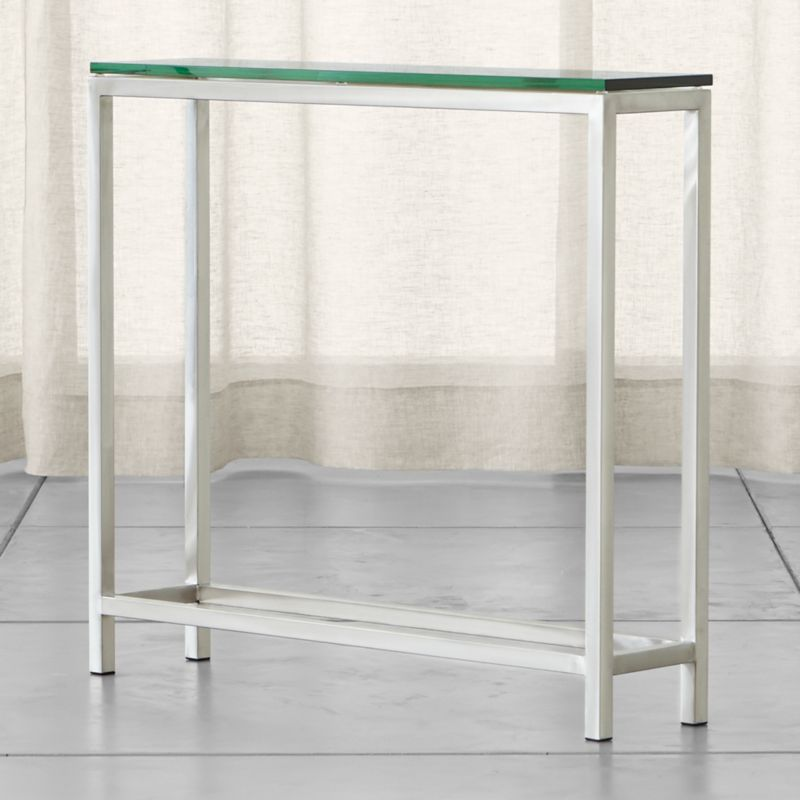 "If ever there were a go-to accent table, this perpetually modern, stainless-steel design would be it. While Era's architectural lines are clean and simple, its tubular steel frame is hand-buffed to a gleaming finish by skilled craftsmen. <NEWTAG/><ul><li>Squared tubular stainless</li><li>⅝""-thick glass top with polished edges</li><li>Made in China</li></ul>"
