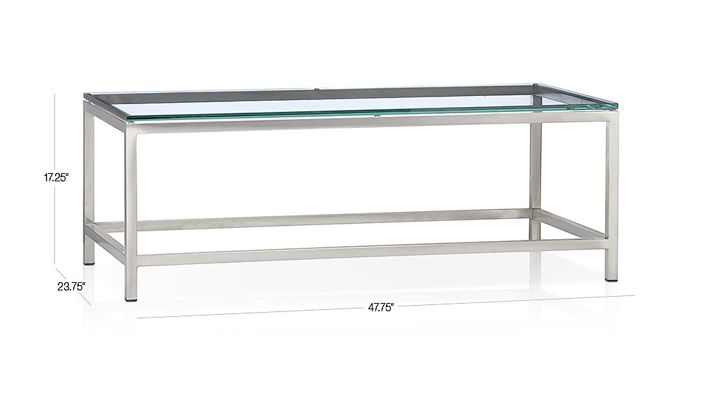 TAP TO ZOOM Image With Dimension For Era Rectangular Glass Coffee Table