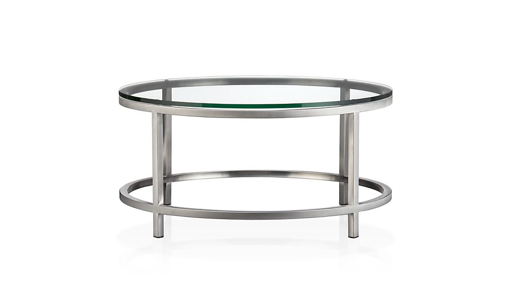 era round glass coffee table | crate and barrel