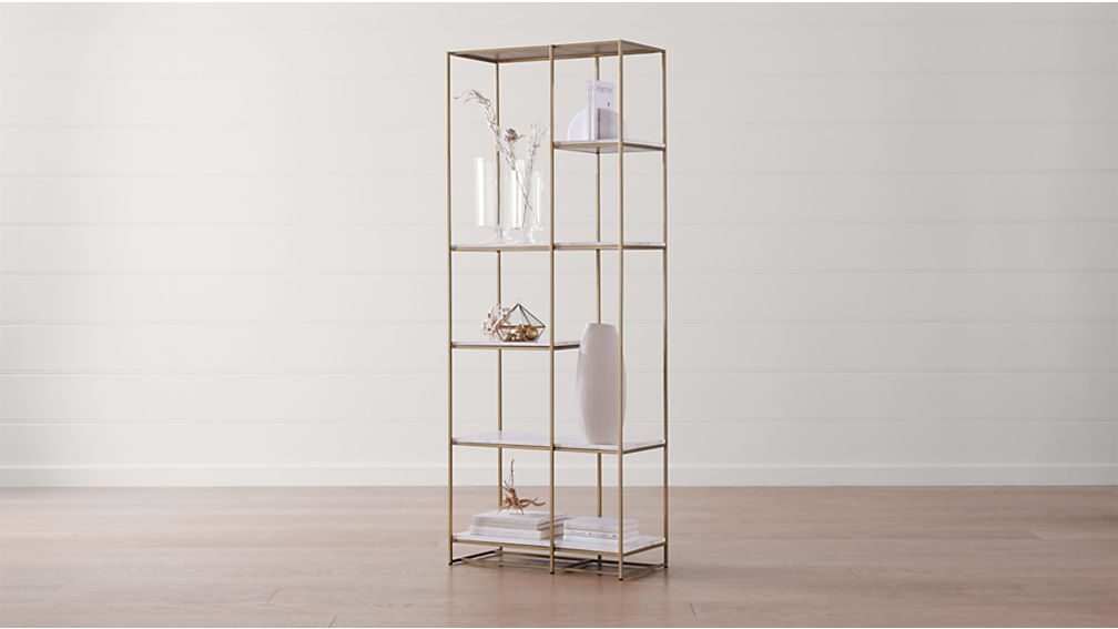 Estelle Brass and Marble Bookcase - Image 1 of 8