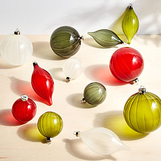 Etched Glass Traditional Ornaments, Set of 12