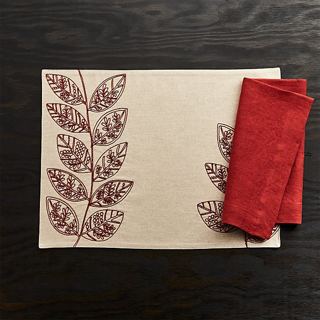 Etta Embroidered Placemat and Helena Chili Red Linen Dinner Napkin