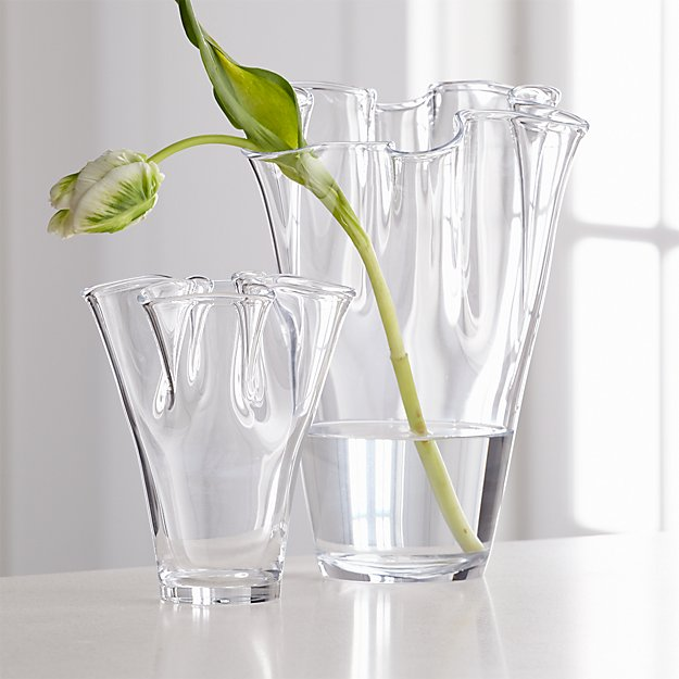 Evelyn Glass Fluted Vases Crate And Barrel