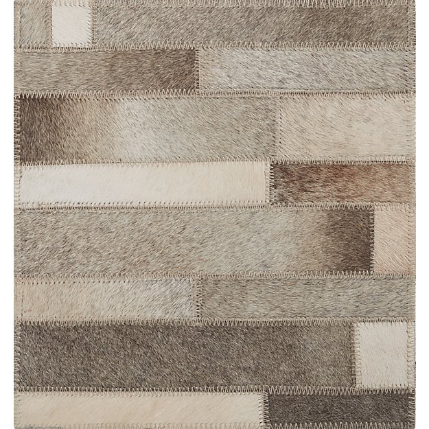 Ewing Striped Cowhide 12 Quot Sq Rug Swatch Crate And Barrel