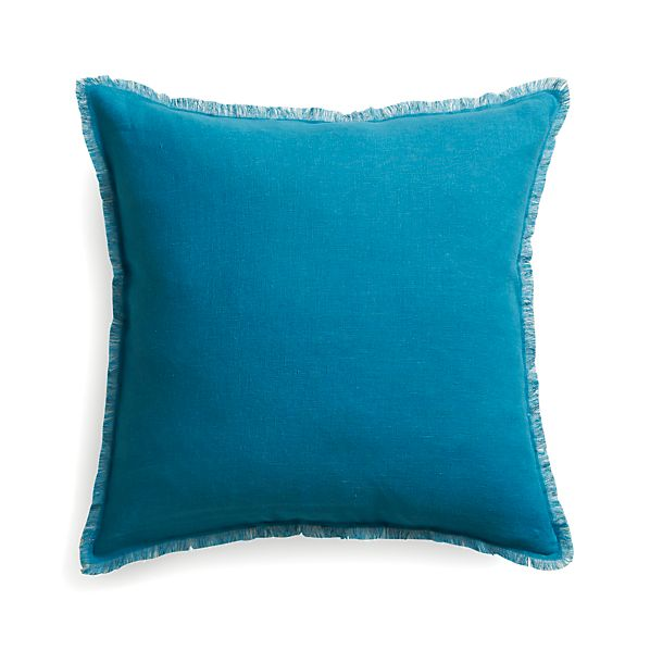 """Eyelash Blue and Grey 20"""" Pillow  with Feather Insert"""