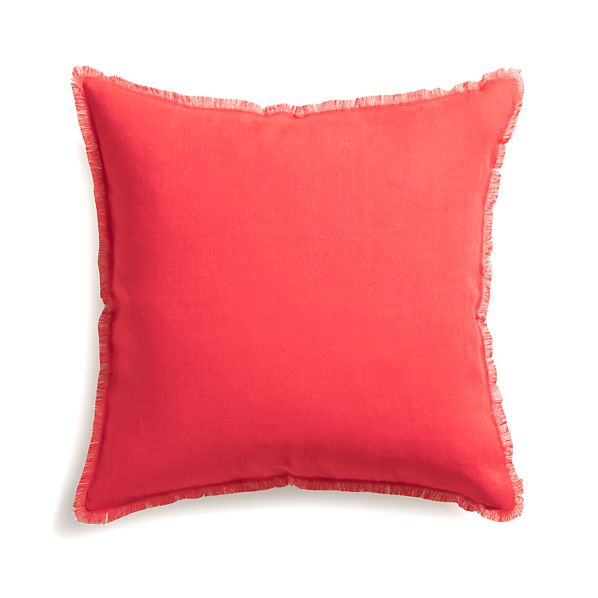 "Eyelash Coral and Natural 20"" Pillow with Feather Insert"
