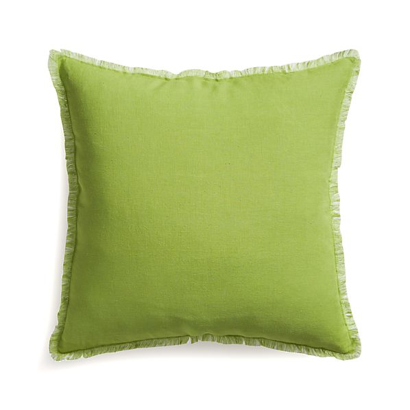 """Eyelash Green and White 20"""" Pillow with Feather Insert"""