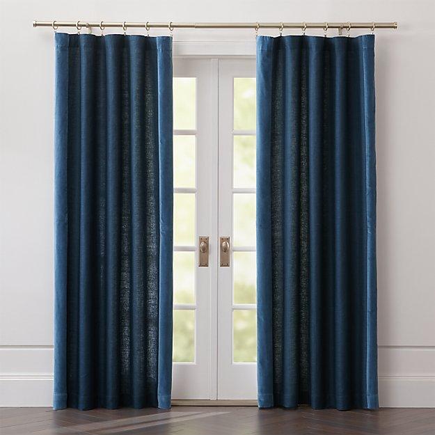 Ezria Blue Linen Curtain Panel - Image 1 of 6