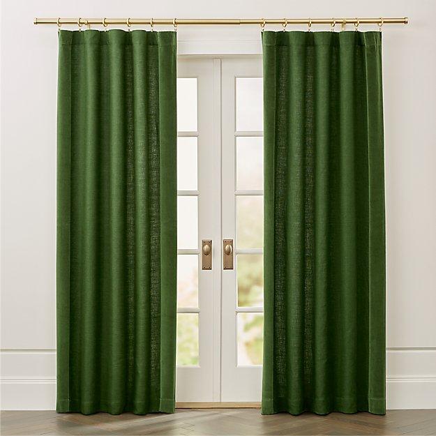 Ezria Green Linen Curtain Panel Crate And Barrel