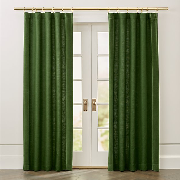 Ezria Green Linen Curtain Panel - Image 1 of 7