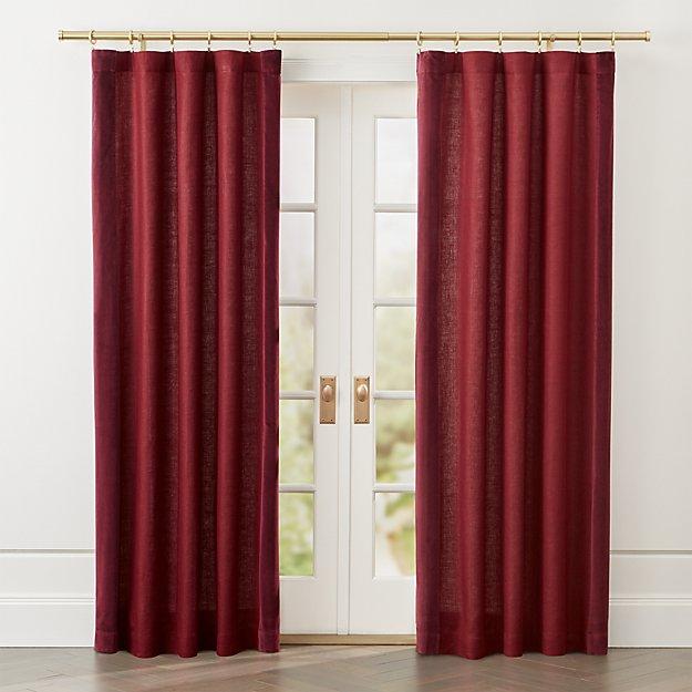 Ezria Wine Linen Curtain Panel - Image 1 of 6