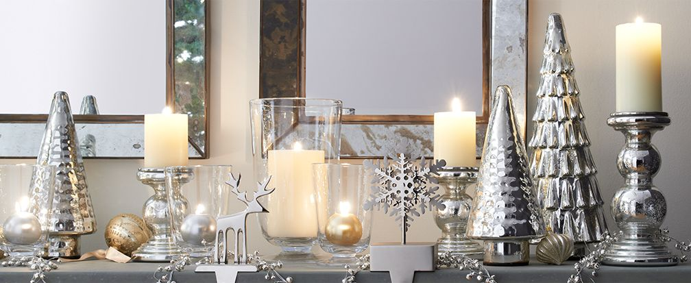 Christmas Mantel with Candles, Trees and Stocking Holders