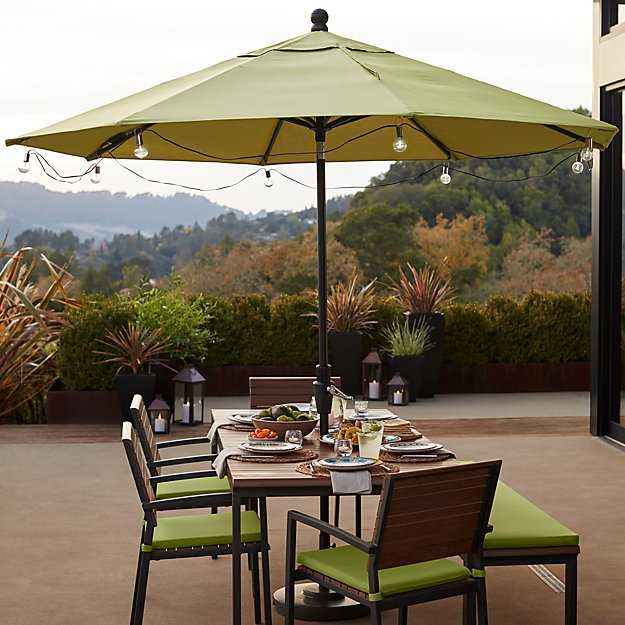 patio umbrella globe led string lights reviews crate and barrel - Patio Table With Umbrella