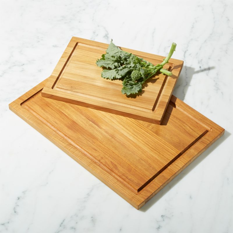 Fsc Teak Rectangular Cutting Boards With Well