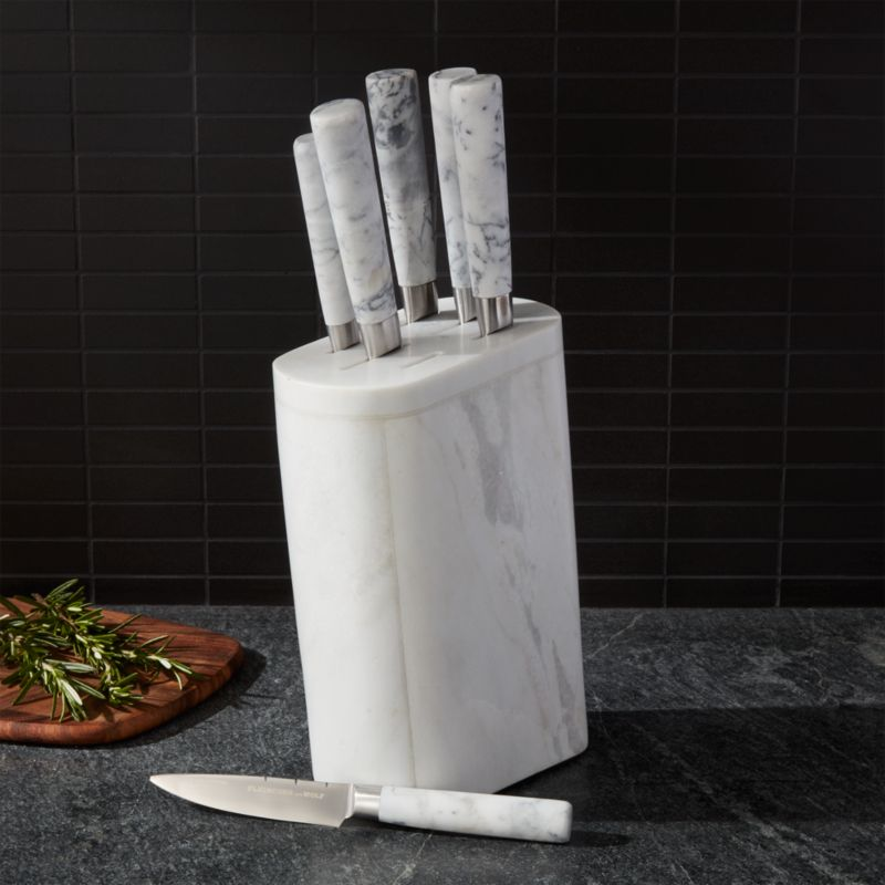 Fleischer And Wolf Marble 7 Piece Knife Block Set