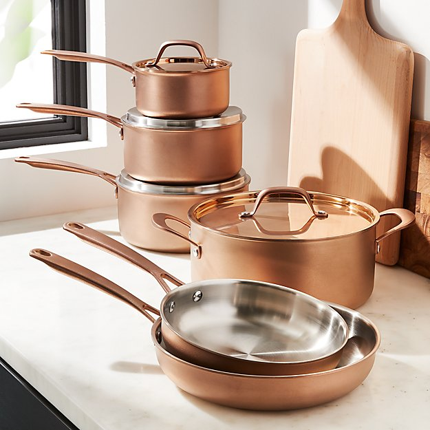 Functional Copper Kids Kitchen Set: Fleischer And Wolf Bronze Rome Tri-Ply 10-Piece Cookware