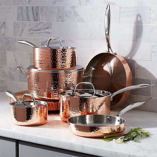 Fleischer and Wolf Seville Hammered Copper 10-Piece Cookware Set - Image 1 of 4