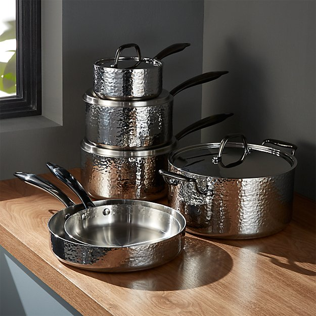 Fleischer and Wolf Seville Hammered Stainless Steel 10-Piece Cookware Set