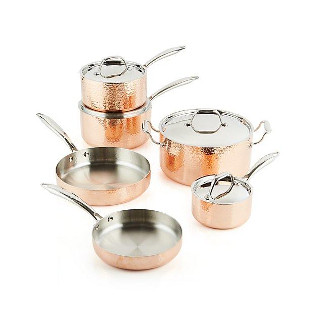 Functional Copper Kids Kitchen Set: Fleischer And Wolf Seville Hammered Copper 10-Piece