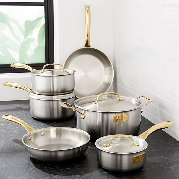 Fleischer and Wolf London Tri-Ply Stainless Steel/Gold 10-Piece Set - Image 1 of 2