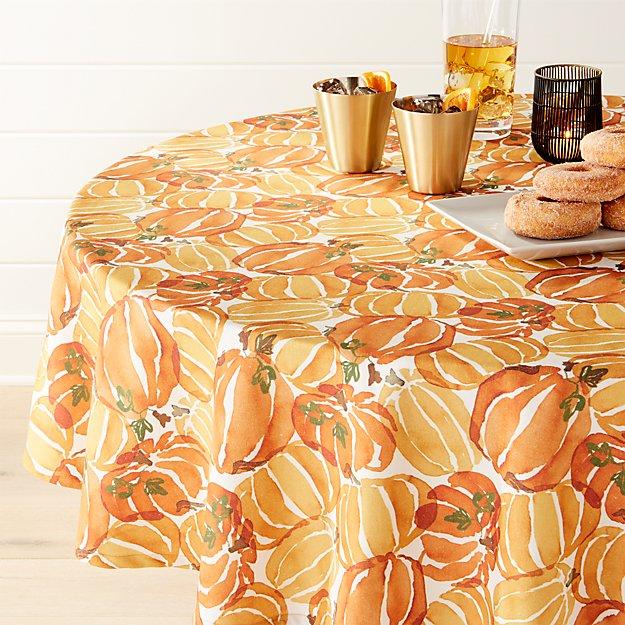 "Fall Pumpkin 54"" Round Tablecloth"