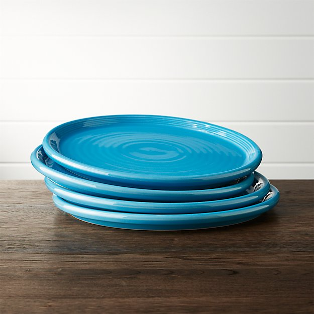Set of 4 Farmhouse Aqua Dinner Plate
